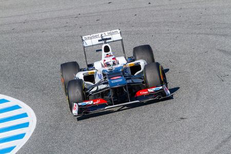 JEREZ DE LA FRONTERA, SPAIN - FEB 10: Kamui Kobayashi of Sauber F1 races on training session on February 10 , 2012, in Jerez de la Frontera , Spain