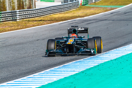 jarno: JEREZ DE LA FRONTERA, SPAIN - FEB 10: Jarno Trulli of Catherham F1 races on training session on February 10 , 2012, in Jerez de la Frontera , Spain