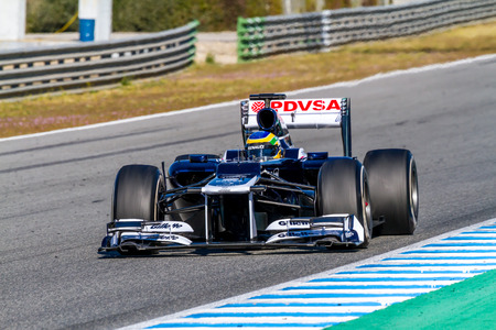 jerez de la frontera: JEREZ DE LA FRONTERA, SPAIN - FEB 10: Bruno Senna of Williams F1 races on training session on February 10 , 2012, in Jerez de la Frontera , Spain