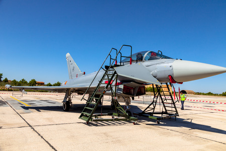 ALBACETE, SPAIN-JUN 23: Aircraft Eurofighter Typhoon C-16 taking part in a static exhibition on the open day of the airbase of Los Llanos on Jun 23, 2013, in Albacete, Spain
