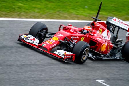scuderia: JEREZ DE LA FRONTERA, SPAIN - JAN 28: Kimi Raikkonen of Scuderia Ferrari F1 races on training session on January 28 , 2014, in Jerez de la Frontera , Spain
