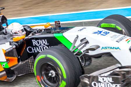 JEREZ DE LA FRONTERA, SPAIN - JAN 31: Daniel Juncadella of Force India F1 leaving the pit on training session on January 31 , 2014, in Jerez de la Frontera , Spain