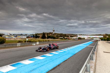 JEREZ DE LA FRONTERA, SPAIN - FEB 03:  Carlos Sainz of Scuderia Toro Rosso F1 Team races  on training session on February 03 , 2015, in Jerez de la Frontera , Spain