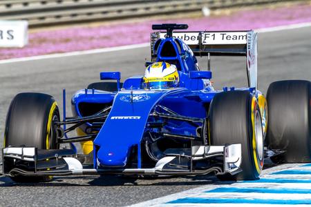 ericsson: JEREZ DE LA FRONTERA, SPAIN - FEB 04:  Marcus Ericsson of Sauber MotorSport F1 Team races  on training session on February 04 , 2015, in Jerez de la Frontera , Spain Editorial