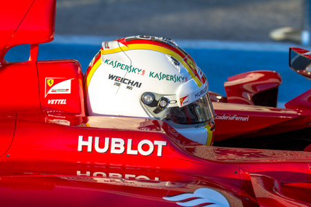 vettel: JEREZ DE LA FRONTERA, SPAIN - FEB 01:  Sebastian Vettel of Scuderia Ferrari F1 leaving pits  on training session on February 01 , 2015, in Jerez de la Frontera , Spain