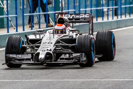 turn of the year: JEREZ DE LA FRONTERA, SPAIN - JAN 31: Kevin Magnussen of McLaren Mercedes F1 leaving the pit on training session on January 31 , 2014, in Jerez de la Frontera , Spain
