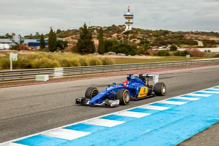 jerez de la frontera: JEREZ DE LA FRONTERA, SPAIN - FEB 03:  Felipe Nasr of Sauber MotorSport F1 Team races  on training session on February 03 , 2015, in Jerez de la Frontera , Spain Editorial