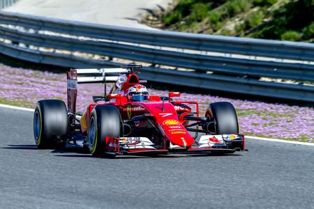 accelerated: JEREZ DE LA FRONTERA, SPAIN - FEB 04:  Kimi Raikkonen of Scuderia Ferrari F1 races  on training session on February 04 , 2015, in Jerez de la Frontera , Spain