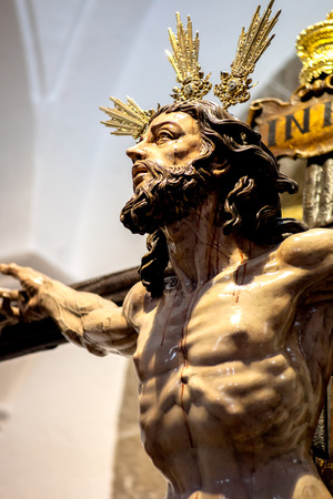 Christ of the forgiveness in the parish church of Santa Cruz, Cadiz, Spain Stock Photo