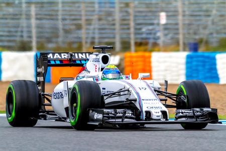 accelerated: JEREZ DE LA FRONTERA, SPAIN - FEB 03:  Felipe Massa of Williams Martini Racing F1 Team races on training session on February 03 , 2015, in Jerez de la Frontera , Spain Editorial