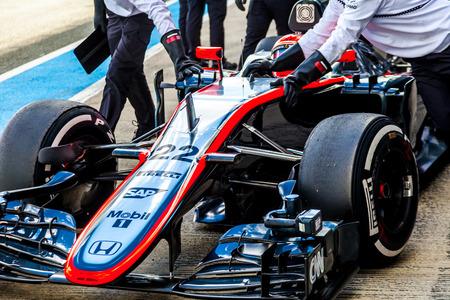 accelerated: JEREZ DE LA FRONTERA, SPAIN - FEB 04:  Jenson Button of McLaren Honda F1 entering to pits  on training session on February 04 , 2015, in Jerez de la Frontera , Spain