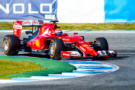 jerez de la frontera: JEREZ DE LA FRONTERA, SPAIN - FEB 04:  Kimi Raikkonen of Scuderia Ferrari F1 races  on training session on February 04 , 2015, in Jerez de la Frontera , Spain