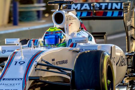 JEREZ DE LA FRONTERA, SPAIN - FEB 04:  Felipe Massa of Williams Martini Racing F1 Team leaving pits  on training session on February 04 , 2015, in Jerez de la Frontera , Spain