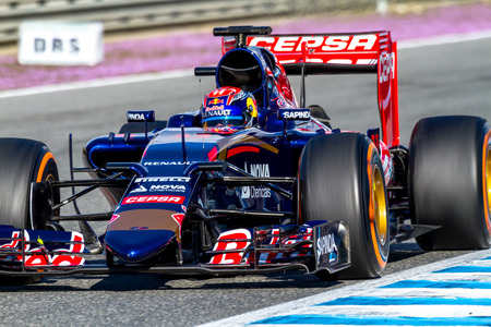 jerez de la frontera: JEREZ DE LA FRONTERA, SPAIN - FEB 04:  Max Verstappen of Scuderia Toro Rosso F1 Team races  on training session on February 04 , 2015, in Jerez de la Frontera , Spain Editorial