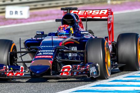 JEREZ DE LA FRONTERA, SPAIN - FEB 04:  Max Verstappen of Scuderia Toro Rosso F1 Team races  on training session on February 04 , 2015, in Jerez de la Frontera , Spain Editorial
