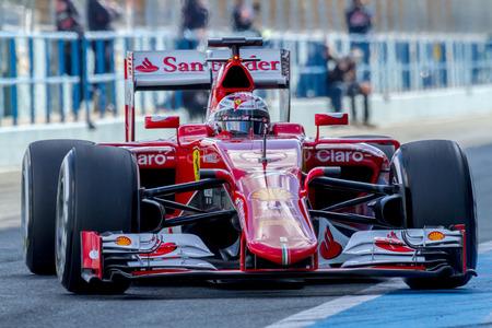 jerez de la frontera: JEREZ DE LA FRONTERA, SPAIN - FEB 04:  Kimi Raikkonen of Scuderia Ferrari F1 entering to pits  on training session on February 04 , 2015, in Jerez de la Frontera , Spain
