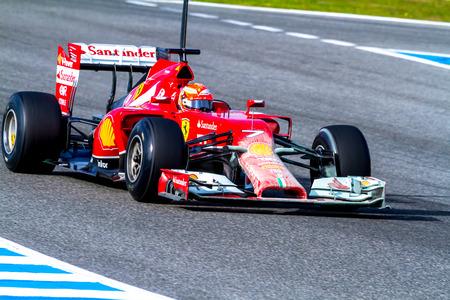 JEREZ DE LA FRONTERA, SPAIN - JAN 28: Kimi Raikkonen of Scuderia Ferrari F1 races on training session on January 28 , 2014, in Jerez de la Frontera , Spain