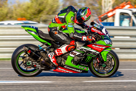 JEREZ DE LA FRONTERA - OCTOBER 16, 2016: World Superbike Warm up Tom Sykes, Kawasaki Racing Team, 66