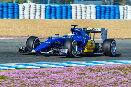 jerez de la frontera: JEREZ DE LA FRONTERA, SPAIN - FEB 04:  Marcus Ericsson of Sauber MotorSport F1 Team races  on training session on February 04 , 2015, in Jerez de la Frontera , Spain Editorial