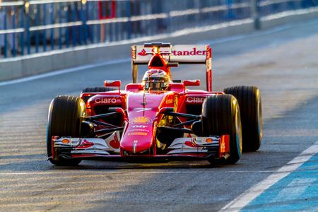 JEREZ DE LA FRONTERA, SPAIN - FEB 04:  Kimi Raikkonen of Scuderia Ferrari F1 leaving pits  on training session on February 04 , 2015, in Jerez de la Frontera , Spain Editorial