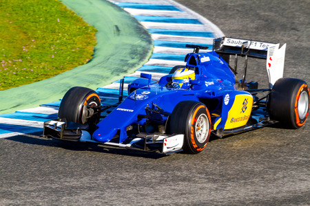 JEREZ DE LA FRONTERA, SPAIN - FEB 04:  Marcus Ericsson of Sauber MotorSport F1 Team races  on training session on February 04 , 2015, in Jerez de la Frontera , Spain Editorial