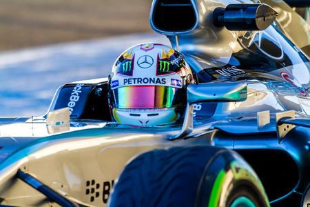 accelerated: JEREZ DE LA FRONTERA, SPAIN - FEB 04:  Lewis Hamilton of Mercedes AMG Petronas F1 leaving pits  on training session on February 04 , 2015, in Jerez de la Frontera , Spain Editorial