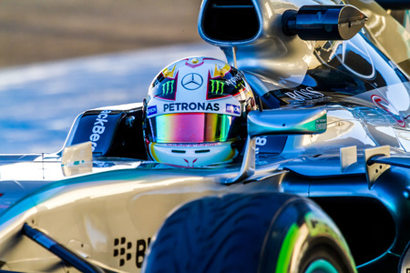 JEREZ DE LA FRONTERA, SPAIN - FEB 04:  Lewis Hamilton of Mercedes AMG Petronas F1 leaving pits  on training session on February 04 , 2015, in Jerez de la Frontera , Spain Editorial