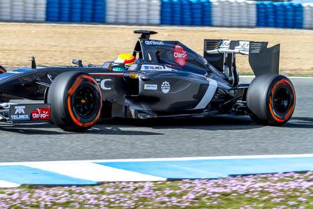 JEREZ DE LA FRONTERA, SPAIN - JAN 28: Esteban Gutierrez of Sauber F1 races on training session on January 28 , 2014, in Jerez de la Frontera , Spain