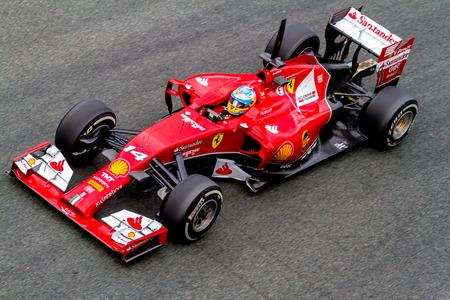 JEREZ DE LA FRONTERA, SPAIN - JAN 31: Fernando Alonso of Scuderia Ferrari F1 leaving the pit on training session on January 31 , 2014, in Jerez de la Frontera , Spain Editorial