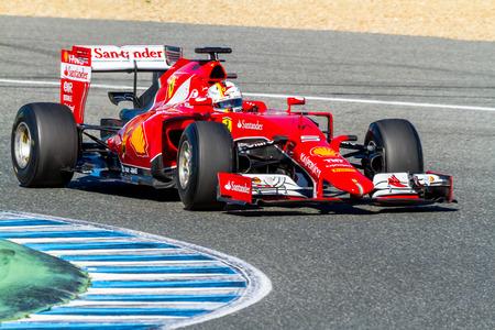 JEREZ DE LA FRONTERA, SPAIN - FEB 01:  Sebastian Vettel of Scuderia Ferrari F1 races  on training session on February 01 , 2015, in Jerez de la Frontera , Spain