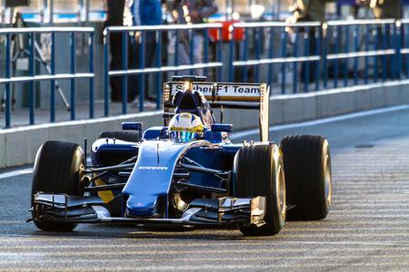 JEREZ DE LA FRONTERA, SPAIN - FEB 04:  Marcus Ericsson of Sauber MotorSport F1 Team leaving pits  on training session on February 04 , 2015, in Jerez de la Frontera , Spain