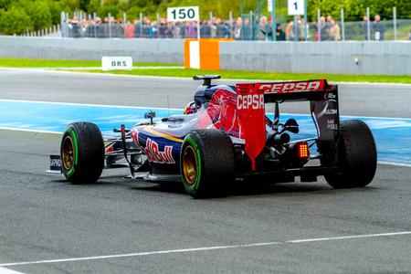 JEREZ DE LA FRONTERA, SPAIN - FEB 03:  Carlos Sainz of Scuderia Toro Rosso F1 Team leaving pits  on training session on February 03 , 2015, in Jerez de la Frontera , Spain Editorial