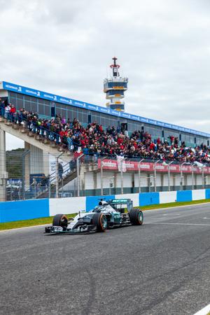 JEREZ DE LA FRONTERA, SPAIN - FEB 03:  Nico Rosberg of Mercedes AMG Petronas F1 races  on training session on February 03 , 2015, in Jerez de la Frontera , Spain