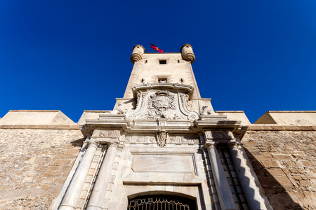 no entrance: Outer walls that separate the old quarter and the modern zone of the city of Cadiz, Spain Stock Photo