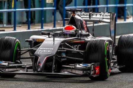 JEREZ DE LA FRONTERA, SPAIN - JAN 31: Adrian Sutil of Sauber F1 leaving the pit on training session on January 31 , 2014, in Jerez de la Frontera , Spain Editorial
