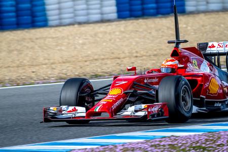 accelerated: JEREZ DE LA FRONTERA, SPAIN - JAN 28: Kimi Raikkonen of Scuderia Ferrari F1 races on training session on January 28 , 2014, in Jerez de la Frontera , Spain