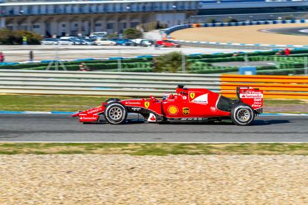 JEREZ DE LA FRONTERA, SPAIN - FEB 04:  Kimi Raikkonen of Scuderia Ferrari F1 races  on training session on February 04 , 2015, in Jerez de la Frontera , Spain