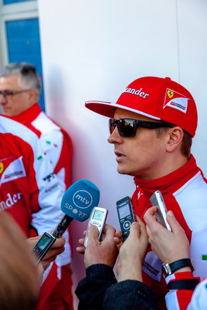 JEREZ DE LA FRONTERA, SPAIN - FEB 04:  Kimi Raikkonen of Scuderia Ferrari F1 attending to the media after the training session  on February 04 , 2015, in Jerez de la Frontera , Spain
