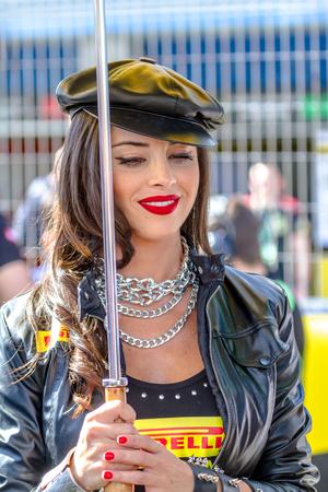 JEREZ DE LA FRONTERA, SPAIN - OCTOBER 16, 2016: World Superbike Race,  Beautifull Grid Girl