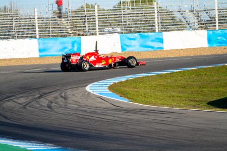 2014 年 1 月 28 日、スペインのヘレス ・ デ ・ ラ ・ フロンテーラでのトレーニング セッションにスクーデリア ・ フェラーリの F1 レースのヘレス ・