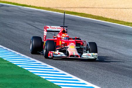 turn of the year: JEREZ DE LA FRONTERA, SPAIN - JAN 28: Kimi Raikkonen of Scuderia Ferrari F1 races on training session on January 28 , 2014, in Jerez de la Frontera , Spain