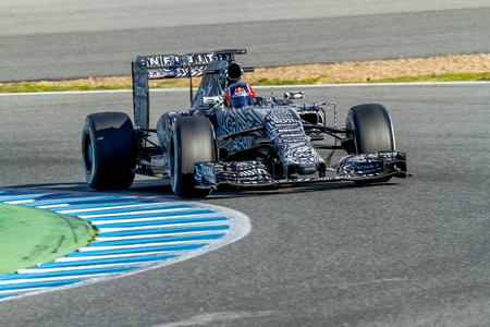 JEREZ DE LA FRONTERA, SPAIN - FEB 04:  Daniil Kvyat of Red Bull Racing F1 Team races  on training session on February 04 , 2015, in Jerez de la Frontera , Spain Editorial