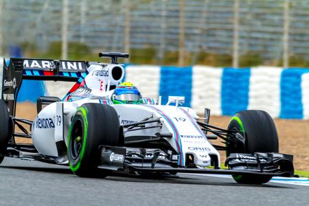 JEREZ DE LA FRONTERA, SPAIN - FEB 03:  Felipe Massa of Williams Martini Racing F1 Team races on training session on February 03 , 2015, in Jerez de la Frontera , Spain Editorial