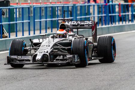 JEREZ DE LA FRONTERA, SPAIN - JAN 31: Kevin Magnussen of McLaren Mercedes F1 leaving the pit on training session on January 31 , 2014, in Jerez de la Frontera , Spain