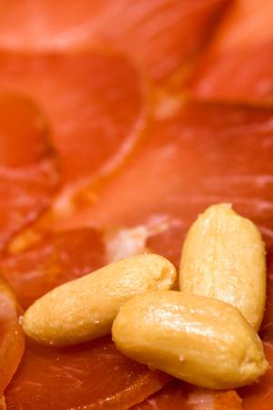 Iberian pork loin with peanuts , ready to taste