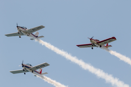 airplane ultralight: TORRE DEL MAR, MALAGA, SPAIN-JUL 30: Aircraft of the formation Plus Ultra  taking part in a exhibition on the 2nd airshow of Torre del Mar on July 30, 2017, in Torre del Mar, Malaga, Spain