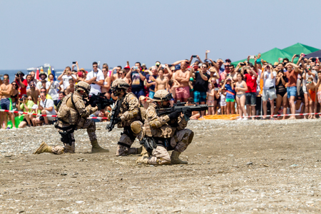 motril: MOTRIL, GRANADA, SPAIN-JUN 11: Spanish Marines taking part in an exhibition on the 12th international airshow of Motril on Jun 11, 2017, in Motril, Granada, Spain Editorial