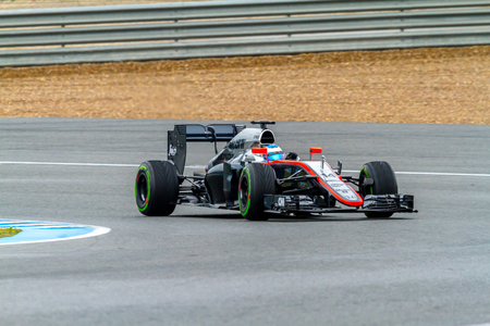 JEREZ DE LA FRONTERA, SPAIN - FEB 03:  Fernando Alonso of McLaren Honda F1 races on training session on February 03 , 2015, in Jerez de la Frontera , Spain