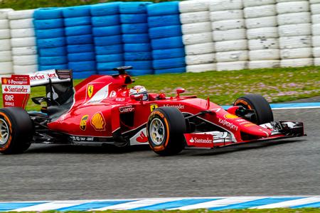 JEREZ DE LA FRONTERA, SPAIN - FEB 03:  Kimi Raikkonen of Scuderia Ferrari F1 races  on training session on February 03 , 2015, in Jerez de la Frontera , Spain