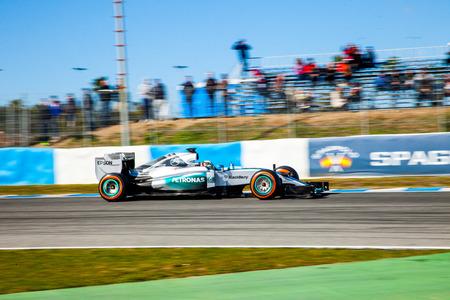 JEREZ DE LA FRONTERA, SPAIN - FEB 04:  Lewis Hamilton of Mercedes AMG Petronas F1 races  on training session on February 04 , 2015, in Jerez de la Frontera , Spain